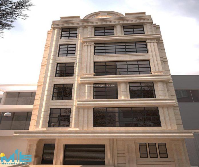 نمای ساختمان پنج طبقه
